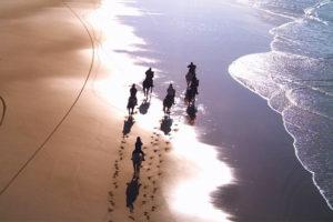 Balade à cheval sur la plage de l'océan atlantique